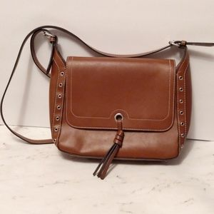 London Fog Brown Leather Crossbody Purse